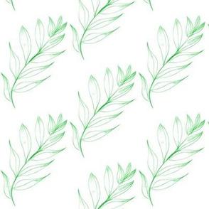 Breeze-TossedLeafy Twigs on White