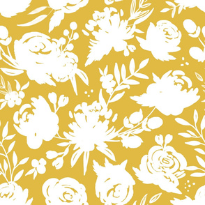 """""""Heavenly"""" White Floral on Mustard Yellow"""