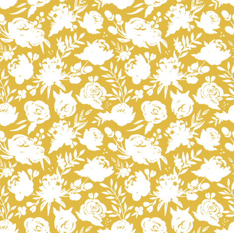 """Sm/Med """"Heavenly"""" White Floral on Mustard fabric by sweeterthanhoney on Spoonflower - custom fabric"""