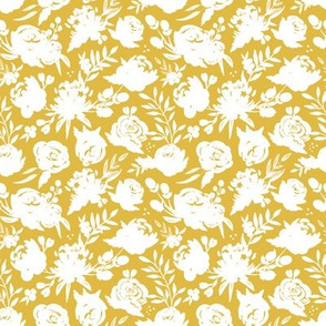 "Sm/Med ""Heavenly"" White Floral on Mustard"