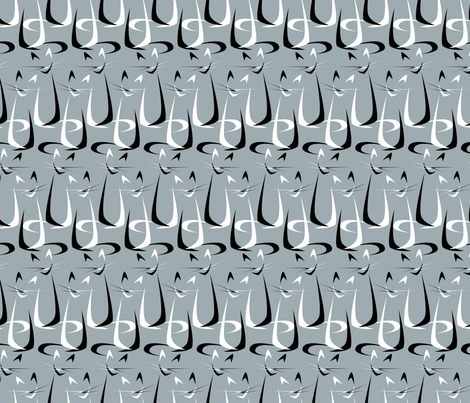 Abstract Boomerang Cats in Stripes fabric by studioxtine on Spoonflower - custom fabric