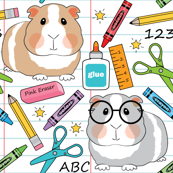 guinea-pigs-at school on white