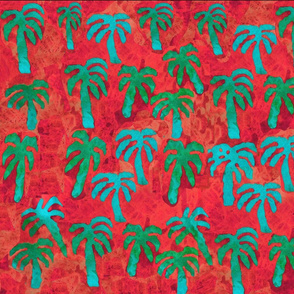 Caribbean Tropical Palms - Turquoise