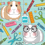 large guinea-pigs-at school-on-teal
