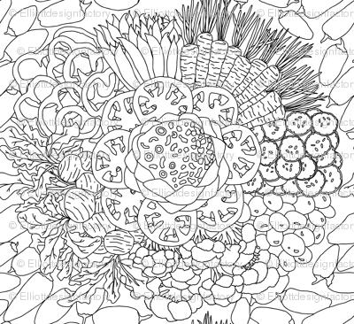 Crudité Bouquet Coloring Page