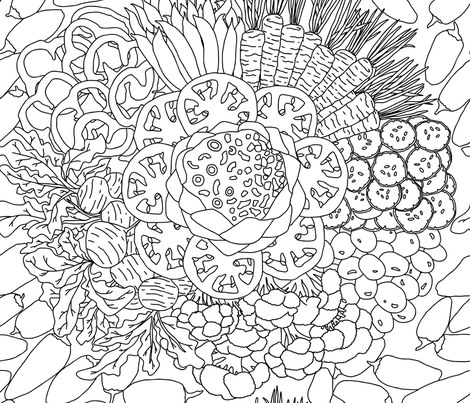 Crudité Bouquet Coloring Page fabric by elliottdesignfactory on Spoonflower - custom fabric