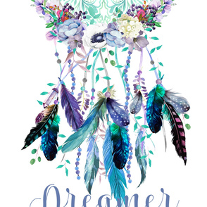 "54""x72"" Dreamer Teal and Lilac Dreamcatcher"