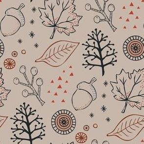 Autumn  leaves - beige