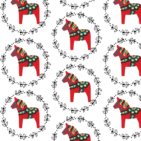 Red Dala Horses fabric by sunshineandspoons on Spoonflower - custom fabric