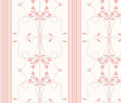 Wallflower Arabesque: Rose Gold Floral Stripe fabric by dept_6 on Spoonflower - custom fabric
