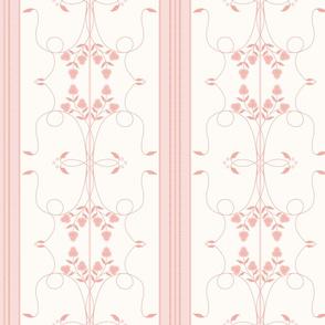 Wallflower Arabesque: Rose Gold Floral Stripe