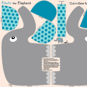 Edwin the Elephant Cut and Sew  Blue