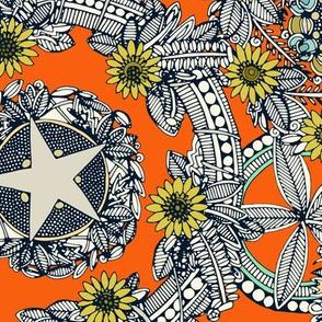 cirque fleur orange stone star