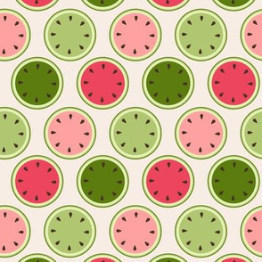 Retro watermelon halves spots
