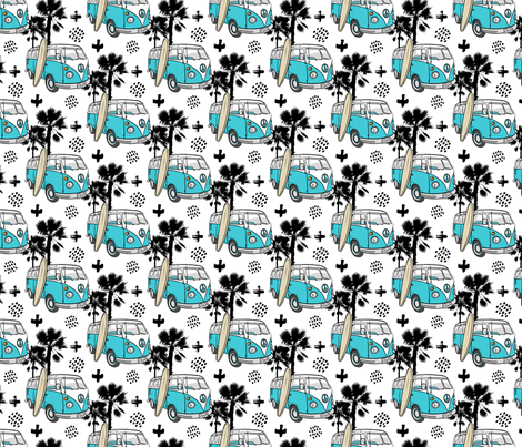 Surf Kombi - Aqua  fabric by colourcult on Spoonflower - custom fabric