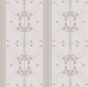 Wallflower Arabesque: Warm Gray Floral Stripe