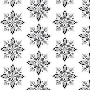 Floral geometric symmetrical ornament