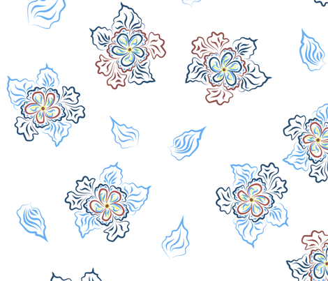Floral pattern on a white background fabric by katrinkastem on Spoonflower - custom fabric