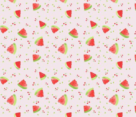 summer watermelon (pink)  fabric by cocon_zakka on Spoonflower - custom fabric