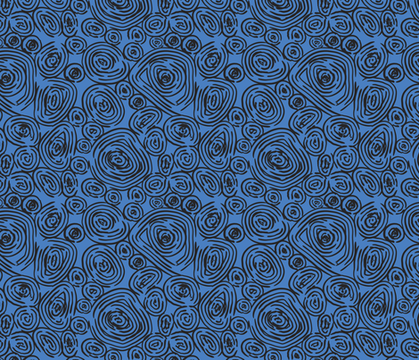 Nature Rings - Modern Abstract in Blue and Black fabric by numberfiveprintco on Spoonflower - custom fabric