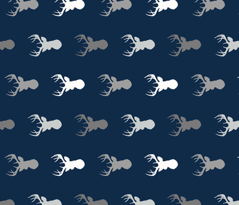 Deer - greys on navy - ROTATED fabric by sugarpinedesign on Spoonflower - custom fabric