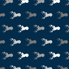 Deer - greys on navy - ROTATED