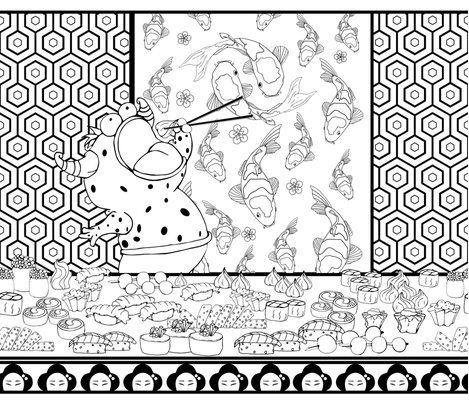FoodFrenzy_SushiMonster_PatternMaking-150dpi fabric by red_kat on Spoonflower - custom fabric