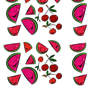watermelon and cherries/ red&pink