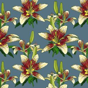 Dragon Lily on blue 12x12