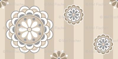 mod flowers beige gray