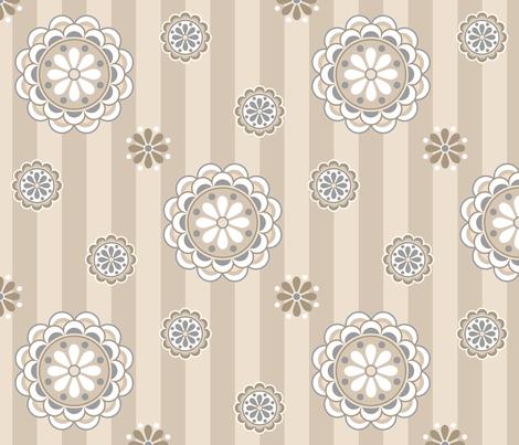 mod flowers beige gray fabric by mel_fischer on Spoonflower - custom fabric