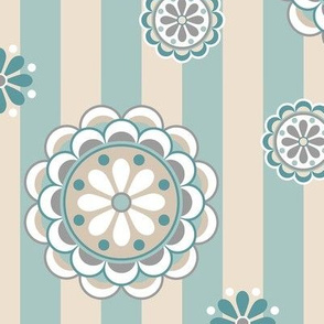mod flowers beige sea foam