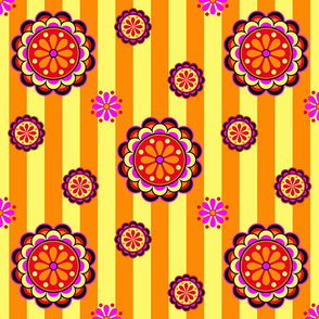 mod colorful flowers on stripes