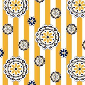 mod flowers navy gold white