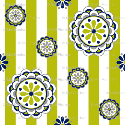 mod flowers navy lime white