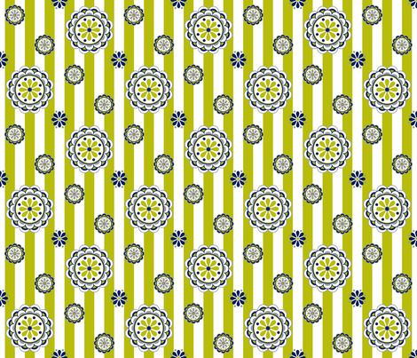 mod flowers navy lime white fabric by mel_fischer on Spoonflower - custom fabric