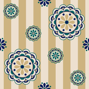 mod flowers on stripes, navy, teal, tan