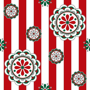 Mod Christmas Flowers on Stripes