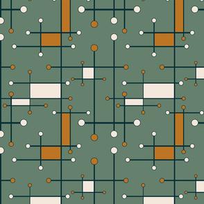 intersecting lines in olive, cream, orange