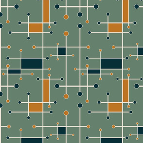 intersecting lines in olive, orange, dark teal