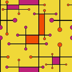 intersecting lines yellow orange and pink