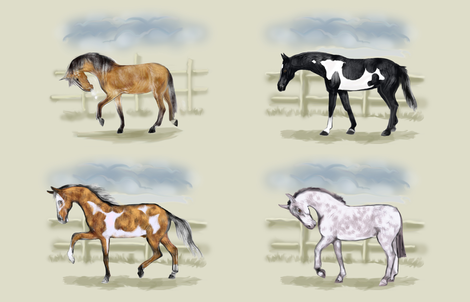 Four Horses in Frosty Morning Pasture for 56 inch wide yardage fabric by eclectic_house on Spoonflower - custom fabric