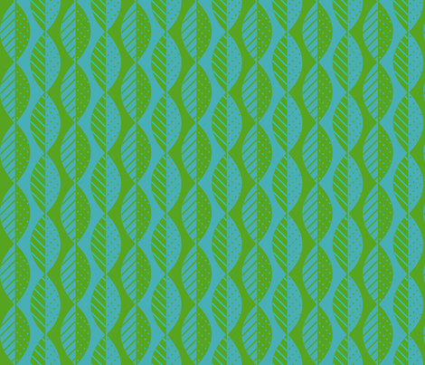mod leaves lime turquoise fabric by mel_fischer on Spoonflower - custom fabric