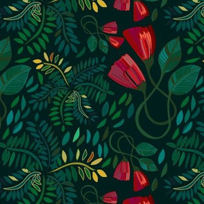 Red Petals and Green Leaves