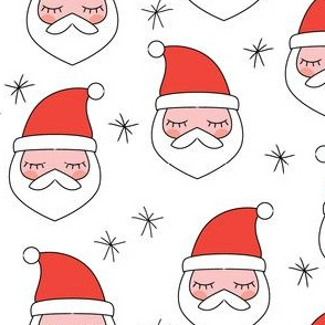 santa-faces and snowflakes on white
