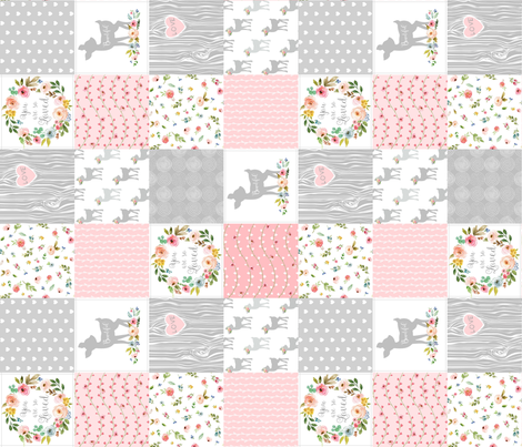 Deer Cheater Quilt Wholecloth – You Are So Loved – Gray Blush Peach Fawn Baby Girl Patchwork (rotated) fabric by gingerlous on Spoonflower - custom fabric