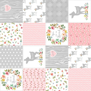 Deer Cheater Quilt Wholecloth – You Are So Loved – Gray Blush Peach Fawn Baby Girl Patchwork (rotated)