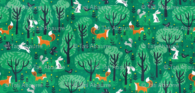 Foxes in the emerald forest
