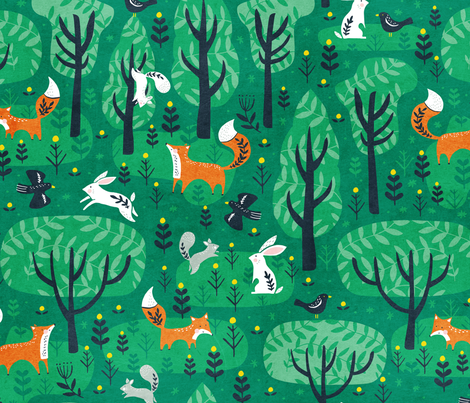 Foxes in the emerald forest fabric by tatiabaurre on Spoonflower - custom fabric