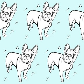 French bulldog on ice blue